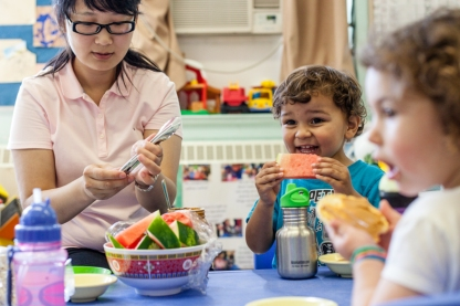 Snack time is a wonderful time to nourish our bodies and minds. Creating a relaxed and stress free environment supports not only children but the educators and child care workers as well. I loved sitting with these toddlers and sharing our thoughts about watermelon, its colour, feeling and taste!